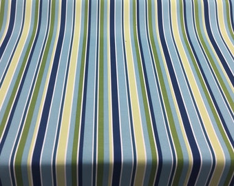 Bryant Blue Green White stripe fabric Indoor Outdoor Fabric by the yard