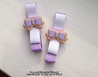 Cookies | Purple Bows | Hair Clips for Girls | Toddler Barrette | Kids Hair Accessories | White Grosgrain Ribbon | Flatback | No Slip Grip