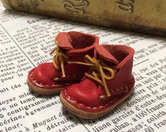 Real leather: miniature short boots [RED] (for Blythe)