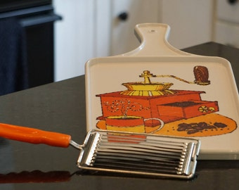 Vintage Kitschy Cutting Board and Cheese Slicer/ Plastic Cutting Board/ Melamine Cutting Board/ Orange Kitchen