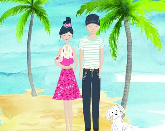 Custom Family Portrait - Family Portrait - Wedding Portrait - Digital Art - Custom Illustration - Mothers Day Gift