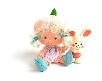 Apricot Doll with Hopsalot Bunny Rabbit Pet Animal | Vintage 1980s Original Strawberry Shortcake Doll and Pet | 1980s Kenner |