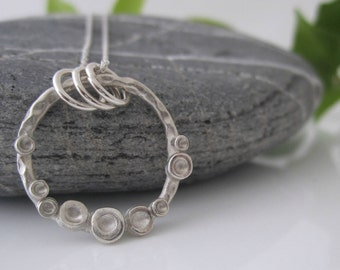 Handmade Simple Dimples Necklace | Fine Silver Necklace | Ring Necklace with Dimples | Silver Dimples Pendant | Open Ring Pendant |