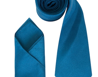 Mens Teal Blue Luxury Dupion Neck Tie with matching Pocket Square
