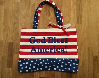 Stars and Stripes Tote/ God Bless America Tote/ Red White and Blue/ Patriotic Tote/ Patriotic Canvas Bag/ Beach Tote
