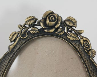 Vintage oval 6x9 picture frame - bronze tone metal, floral roses design, gold tone, empty, table prop stand, wedding frame