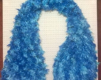 Hand Knit Fluffy Scarf ~ Blue and Black