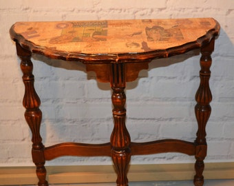 Demilune Table, Wooden End Table, Night Stand, Photo Table, Cottage Chic,