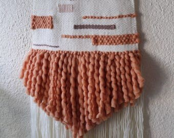 Merino apricot Ready to ship-Weave - hand woven wall art - tapestry-nursery decor - woven wall hanging - neutral- home decor -