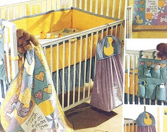 Infant Baby Nursery Crib Quilt-Ruffle-Bumper-Caddy & Diaper Stacker Sewing Pattern UNCUT McCall's 3630 Duck, Bear, Lamb, Heart... Appliques