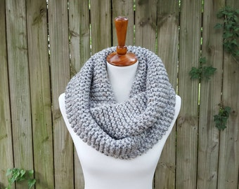 Knit Infinity Scarf, Chunky Knit Scarf, Cowl, Snood, Circle Scarf - Gray Tweed
