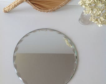 Antique beveled round mirror, Bevelled mirror round