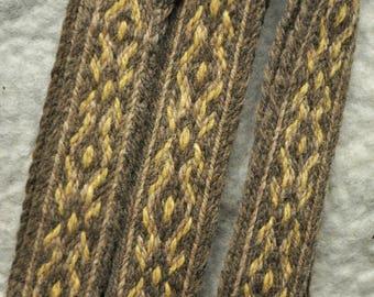 Tablet woven band / Plant dyed green, brown, beige / Viking trim, belt / Handwoven strap / Viking clothing / Medieval garb / Boho belt/ Larp