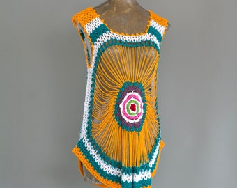 Vintage Crochet Mexican Top Tunic Granny Vest