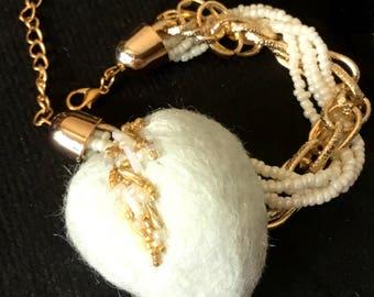 White Valentine Heart Bracelet, BoHo Bracelet, Needle Felted Bracelet, Beaded Felt brooch, Designer Brooch, Gift for Her, Valentine Gift