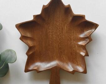Vintage Wooden Maple Leaf Bowl