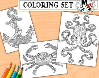 Nautical Coloring Book for Adults - Ocean Life Coloring Page Set - Digital Download of a Printable Anchor, Crab, Octopus Coloring Page Pack