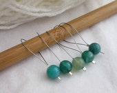 Green Agate Stitch Markers, Moss Agate, Pack of 5, Yarn, Knitting Project, Progress Keepers, Fit Most Needles, Notions, Handmade, Mint, Knit