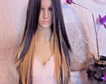 Black human hair blend wig with blond highlights. Lace part  26''