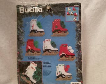 CHRISTMAS CROSS STITCH Bucilla #61191 Ice Skates Tree Ornaments 1995 set of 6 Collectible Mid Century Vintage Retro