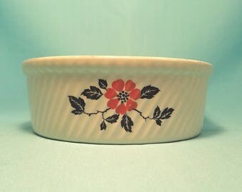 HALL'S RED POPPY Soufflé Casserole Baking Dish Oven Proof Pottery Bowl Vintage