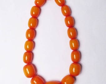 Handcrafted Amber Honey Color Beaded Statement Necklace