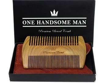 The Ultimate Beard Comb — High Quality Sandalwood Comb with Leather Travel Case and Gift Box -Gifts For Men
