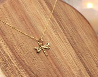 Dragonfly Necklace, Gold Vermeil Necklace - 24k Gold Vermeil, Delicate Necklace