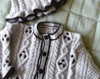 Baby knit cardigan/jacket with hat from sizes 3 months to 3 years old wonderful gi\ft