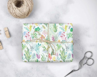 Gift Wrap - Under the Sea Seaweed - Watercolor Illustration - Wrapping Paper