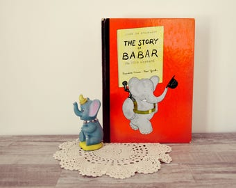 Vintage English children book The story of Babar the little elephant Jean de Brunhoff kids animal story book