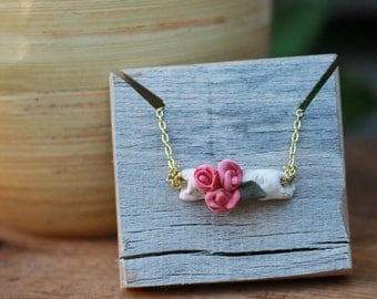Polymer Clay, Necklace, Pink, 32 inch, ClaySong