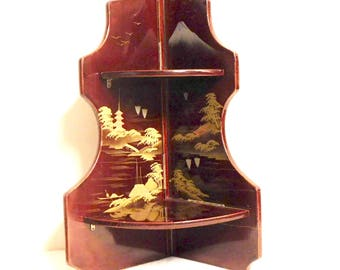 Japanese foldable lacquer corner shelf with painted landscapes