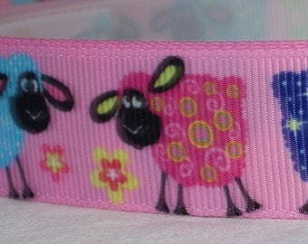 "Playful Sheep Design Dog Collar - Choose Side Release Buckle or Martingale  (1"" Width) - Martingale Option Available"