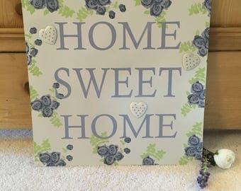 """Metal """"Home Sweet Home"""" Memo Board with Magnetic Hearts"""