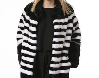 Luxury gift / Black And White Mink fur coat / Fur jacket Full skin marina