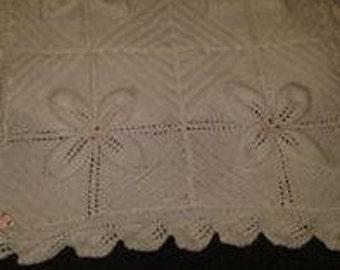 Babies White blanket in leaf pattern suitable for pram, stroller or crib
