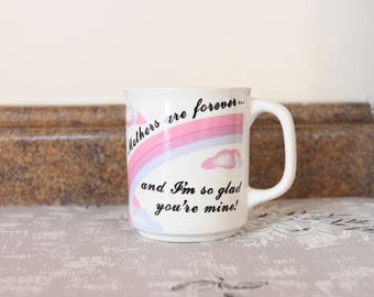 1980's Mothers Are Forever Pastel Rainbow Coffee Mug . Mother's Day Gift Sweet 80s Retro Pink and Purple Pretty