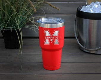 30 oz Engraved Tumbler, Custom Tumbler, YETI like, Stainless steel Mug, Vacuum Insulated Mug, Personalized Tumbler--pc30-r-Martin