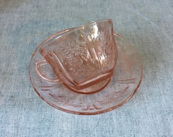Vintage Federal Depression Glass Sharon Cabbage Rose Cup and Saucer
