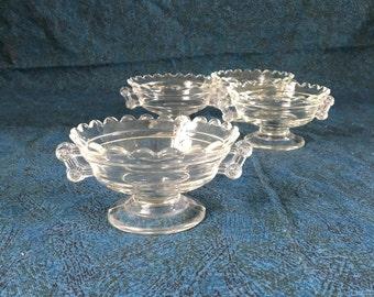 Vintage Sawtooth Edge Handled Glass Dessert Cups, Set of 4