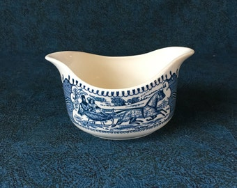 Vintage Currier and Ives Blue Two Spout Gravy Boat, Royal China Sauce Boat