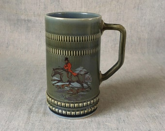Vintage Wade Irish  Porcelain Beer Stein, Fox Hunt Tankard
