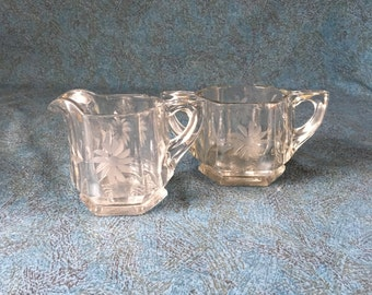 Vintage Etched Glass Floral Sugar Bowl and Creamer