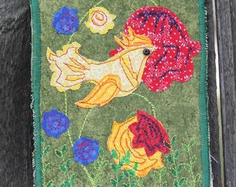 Summertime -- Fabric Postcard (OOK)