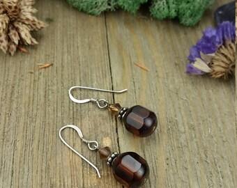 Vintage Sterling Silver Amber Glass Bead Earrings