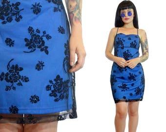 vintage 90s blue sheer mesh floral velvet mini dress cyber grunge glitter velvet burnout cute small