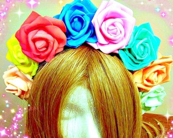 Gay Pride, Rainbow Flower Crown, Floral Headband, Parade Wear, Headdress Headpiece, Mardi Gras, Rose Hairpiece, Flexible To Fit All Ages 7+