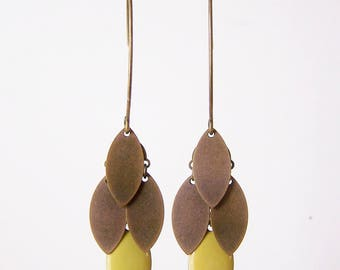 Lime green and bronze navette cluster earrings