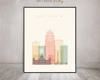 Des Moines Poster Pastel Vertical Skyline Art Print | ArtPrintsVicky.com